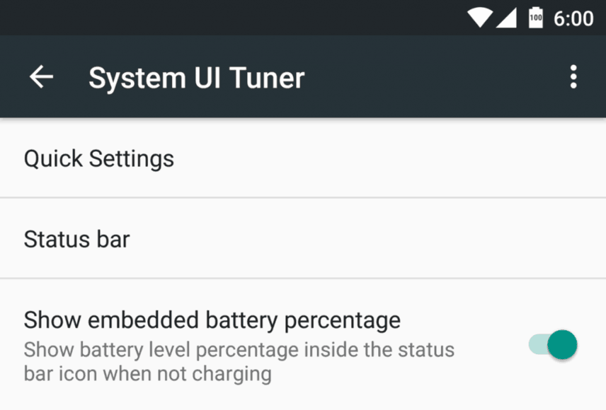 embedded battery percentage