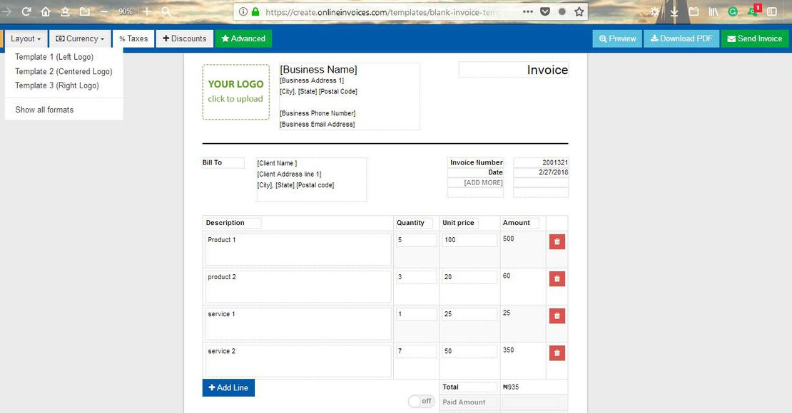 Online invoices
