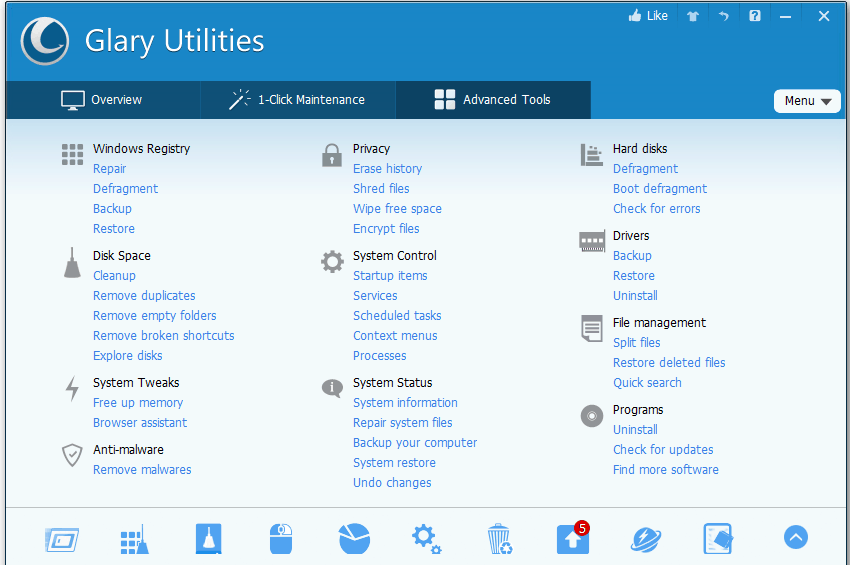 Glary Utility 5 features