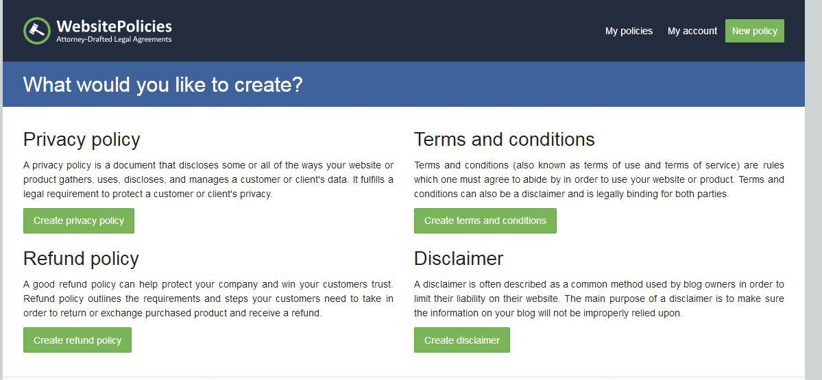 website policies generator 2018